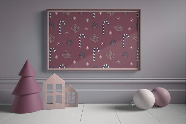 Obra de navidad con una obra de arte en miniatura