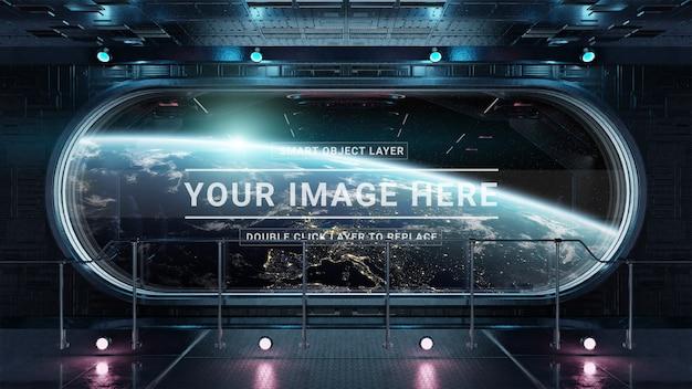Observatorio de la nave espacial oscura con maqueta de ventana redonda