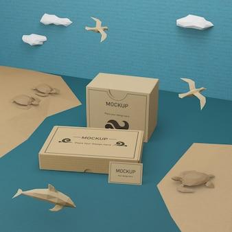 Oceaan dag zeeleven met mock-up concept