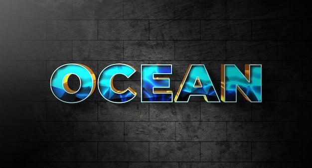 Oceaan tekst stijl effect sjabloon