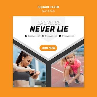 Oefening liegen nooit training vierkante flyer