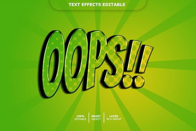 Oeps 3d-tekststijleffect Premium Psd