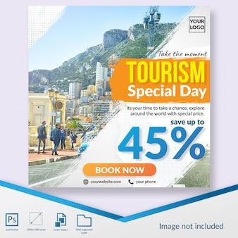 Oferta de descuento especial del día del turismo plantilla de banner web de publicación en redes sociales