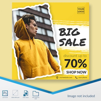 Oferta de descuento de promoción de moda de venta súper grande banner cuadrado o plantilla de publicación de instagram