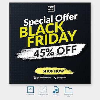 Oferta de descuento de tipografía de viernes negro banner de web de plantilla de publicación de redes sociales