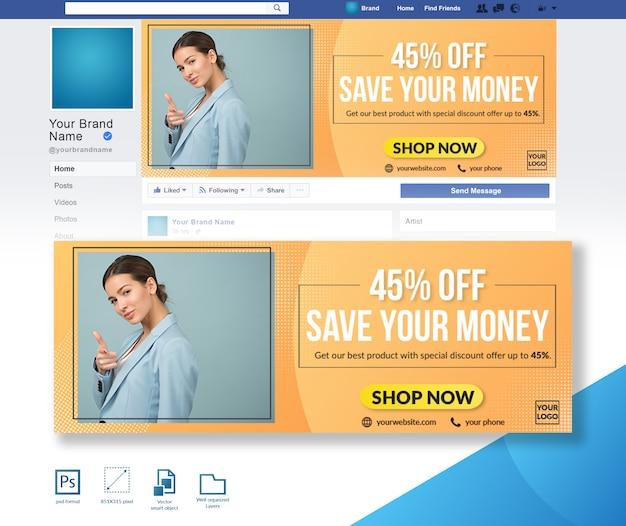 Oferta de descuento venta de moda plantilla de diseño de portada de facebook