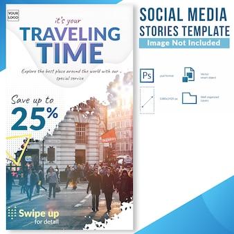 Oferta de descuento de viaje de turismo día plantilla de historias de redes sociales