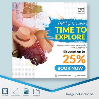 Oferta de descuento para viajes y viajes banner de plantilla de publicación en redes sociales