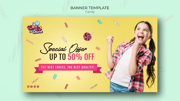 Oferta especial banner de tienda de dulces