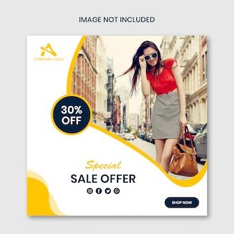 Oferta especial de venta diseño de plantilla de publicación en redes sociales