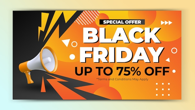 Oferta especial de viernes negro promoción plantilla de diseño de banner web