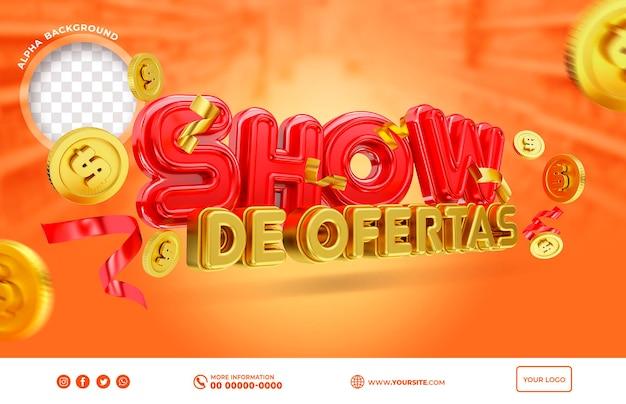Oferta de espectáculo de banner en brasil render 3d diseño de plantilla