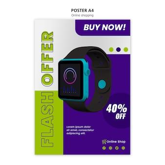 Oferta de flash de plantilla de póster de tienda en línea