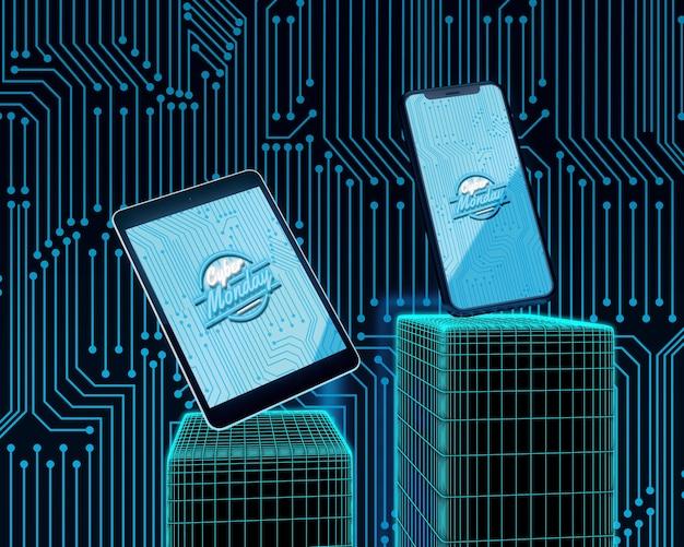 Oferta del lunes cibernético para tableta y teléfono