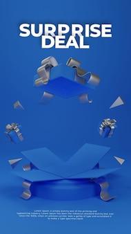 Oferta sorpresa caja de regalo sorteo 3d podio realista exhibición promocional del producto