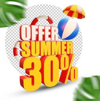 Oferta de verano del 30 por ciento estilo de texto 3d aislado