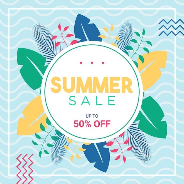 Oferta de verano en redes sociales o plantilla de banner