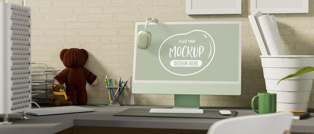 Oficina en casa de renderizado 3d con maqueta de computadora