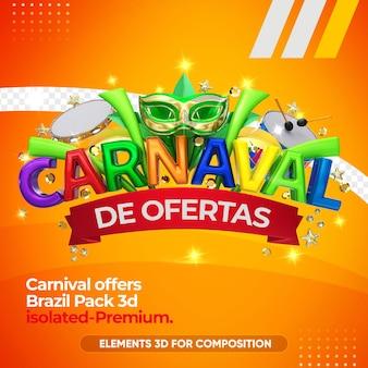 Ofrece logo de carnaval para empresas en renderizado 3d