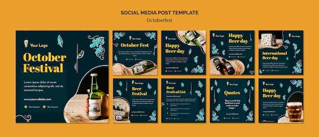 Oktoberfest social media postsjabloon