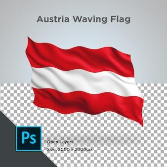 Ola de la bandera de austria en maqueta transparente