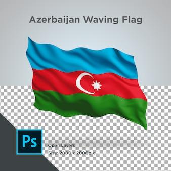 Ola de la bandera de azerbaiyán en maqueta transparente