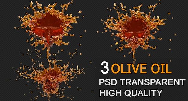 Olijfolieplons met druppeltjes op zwarte achtergrond. 3d illustratie.