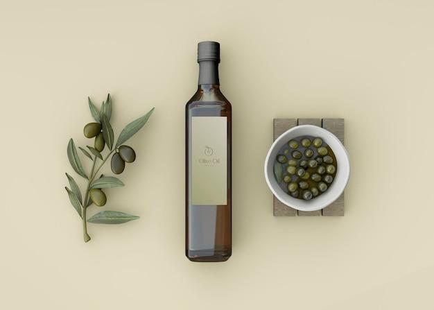 Olijvenpot en olijfoliefles mockup