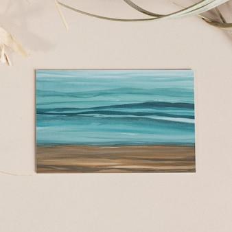 Ombre flyer geïsoleerde psd mockup strand aquarel schilderij