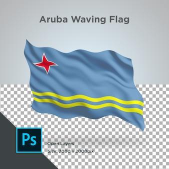 Onda de la bandera de aruba psd transparente