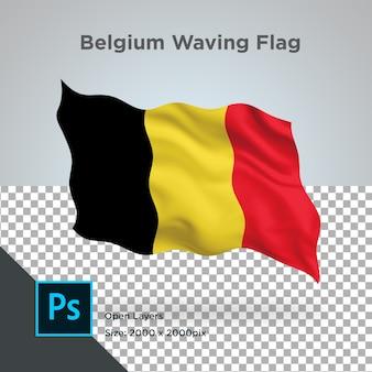 Onda della bandiera del belgio in mockup trasparente