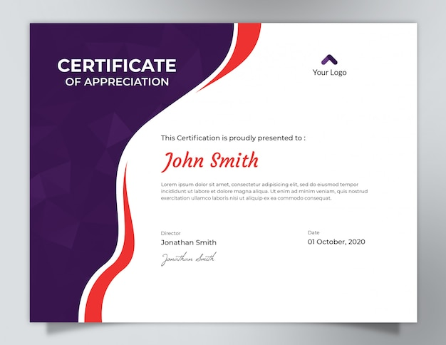 Ondas púrpuras y rojas oscuras con diseño del certificado del modelo del polígono