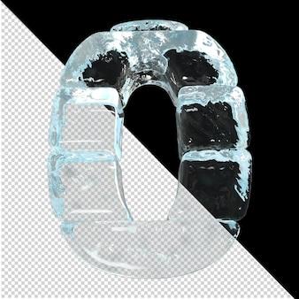 Onderaanzicht van getallen gemaakt van ijsblokken. 3d-nummer 0