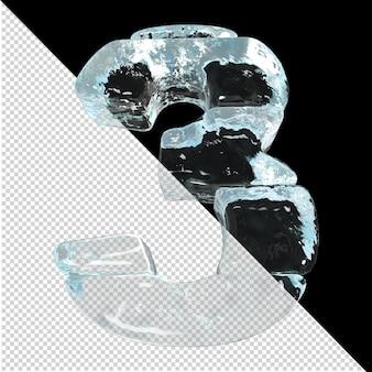 Onderaanzicht van getallen gemaakt van ijsblokken. 3d-nummer 3