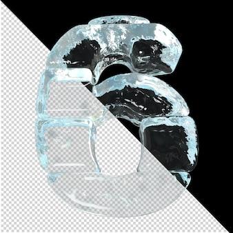 Onderaanzicht van getallen gemaakt van ijsblokken. 3d-nummer 6