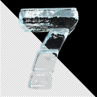 Onderaanzicht van getallen gemaakt van ijsblokken. 3d-nummer 7