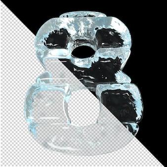 Onderaanzicht van getallen gemaakt van ijsblokken. 3d nummer 8