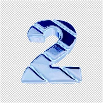 Onderaanzicht van nummers van blauw ijs. 3d-nummer 2