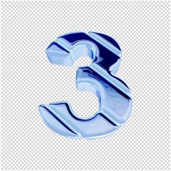 Onderaanzicht van nummers van blauw ijs. 3d-nummer 3