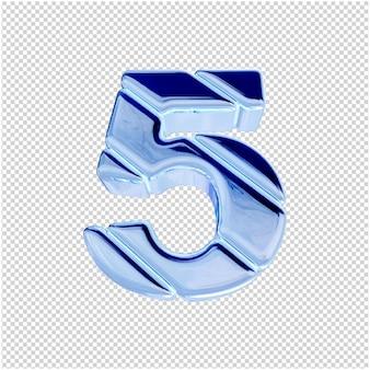 Onderaanzicht van nummers van blauw ijs. 3d-nummer 5