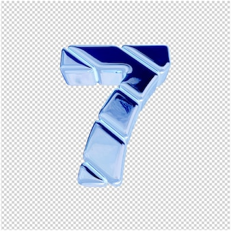 Onderaanzicht van nummers van blauw ijs. 3d-nummer 7