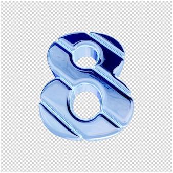 Onderaanzicht van nummers van blauw ijs. 3d-nummer 8