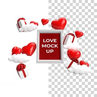 Onderaanzicht zwevend frame mockup valentijn concept