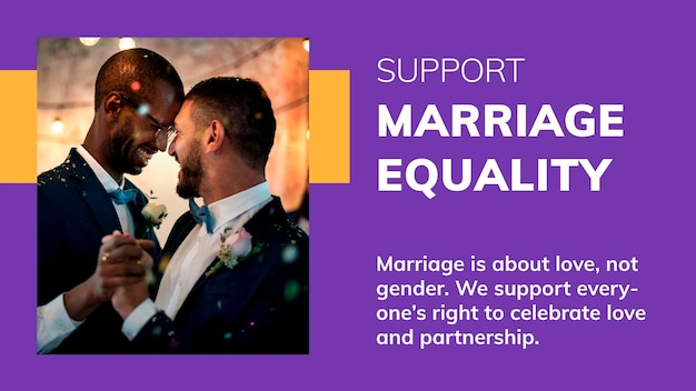 Ondersteuning huwelijk gelijkheid sjabloon psd lgbtq trots maand viering blog banner