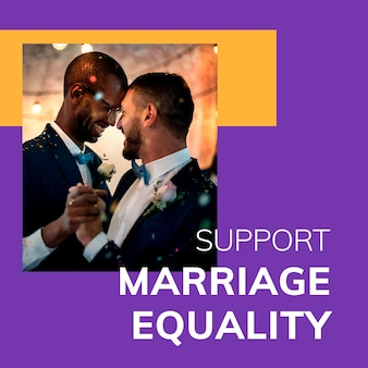 Ondersteuning huwelijk gelijkheid sjabloon psd lgbtq trots maand viering social media post