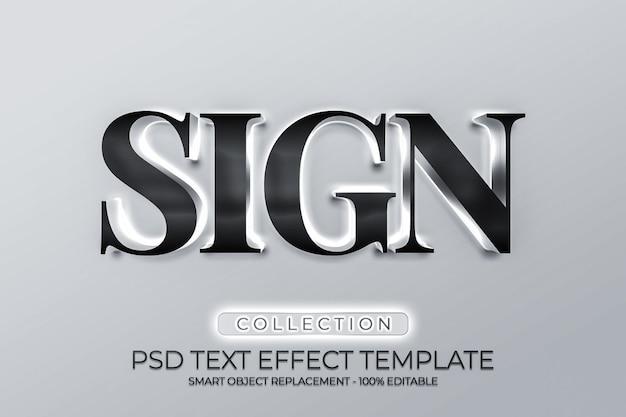 Onderteken metalen 3d-logo-mockups met licht
