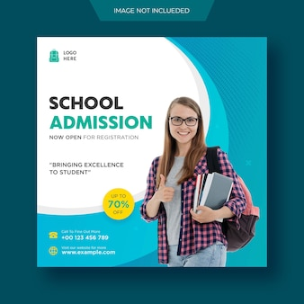 Onderwijs school toelating social media post en flyer webbanner sjabloon premium psd