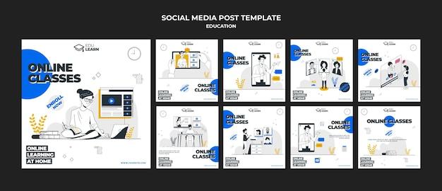 Onderwijs sociale media post-sjabloon