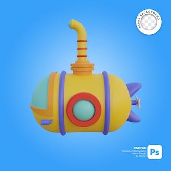 Onderzeeër cartoon stijl zijaanzicht 3d object illustratie