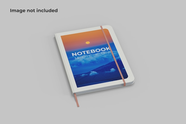 One notebook mockup left angle view